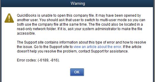 Quickbooks error 6189, 816