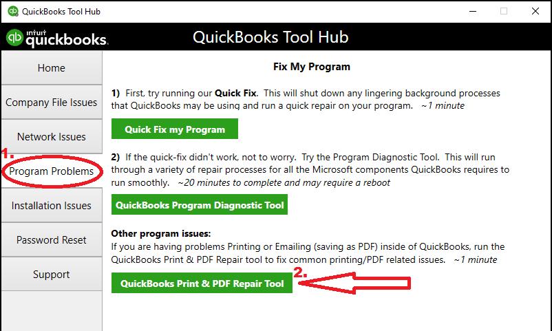 Quickbooks Print&PDF repair tool
