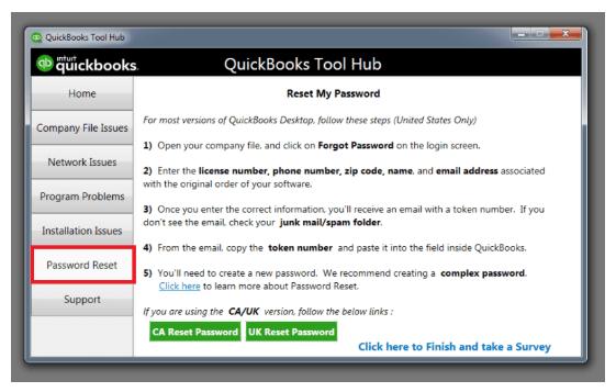 quickbooks password reset