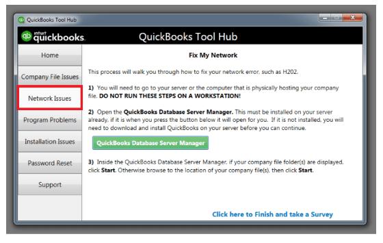 netork issues in quickbooks