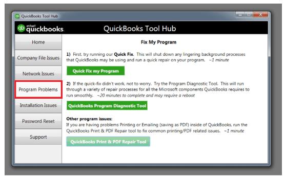 program problems repair tool hub