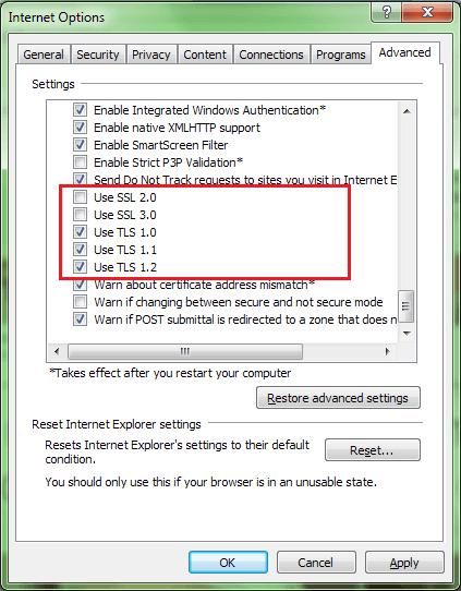 TLS SSL settings