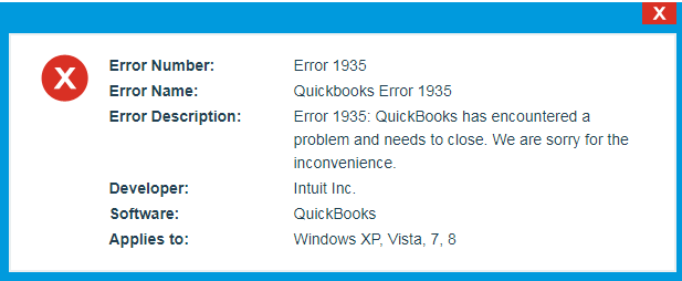 error 1935 quickbooks 2016