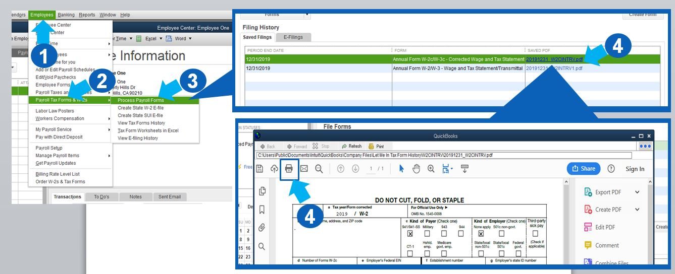 how to reprint w2 in quickbooks 2015