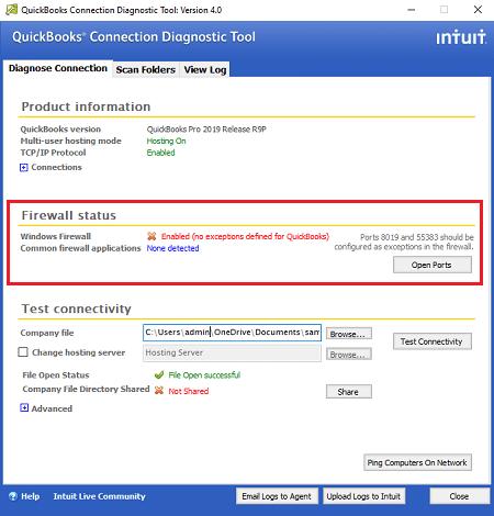 quickbooks diagnostic connection tool