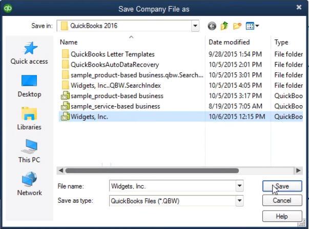 save as company file in qb portable file