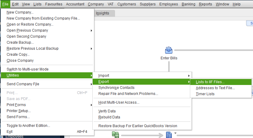 exporting reports in Quickbooks to merge two quickbooks company files