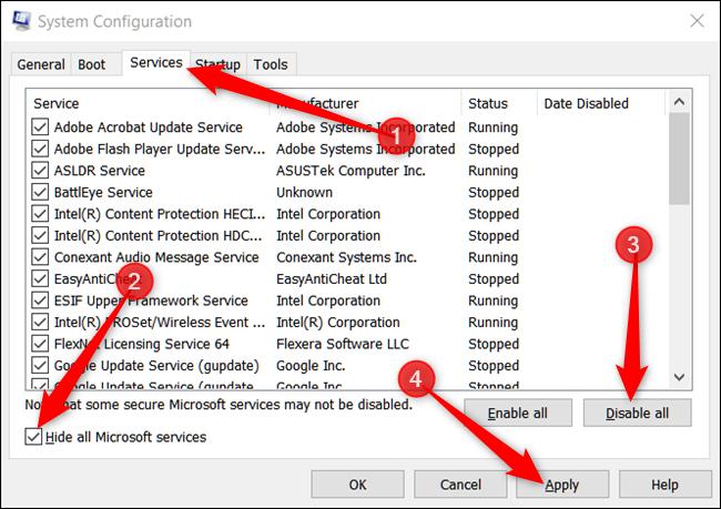 Hide All Microsoft Services.