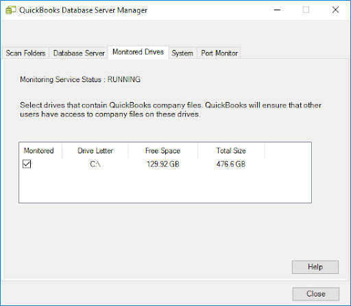 The Monitor Drive quickbooks server manager