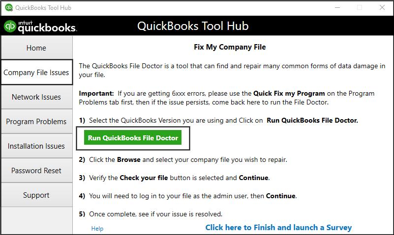 Quickbooks File Doctor tool.